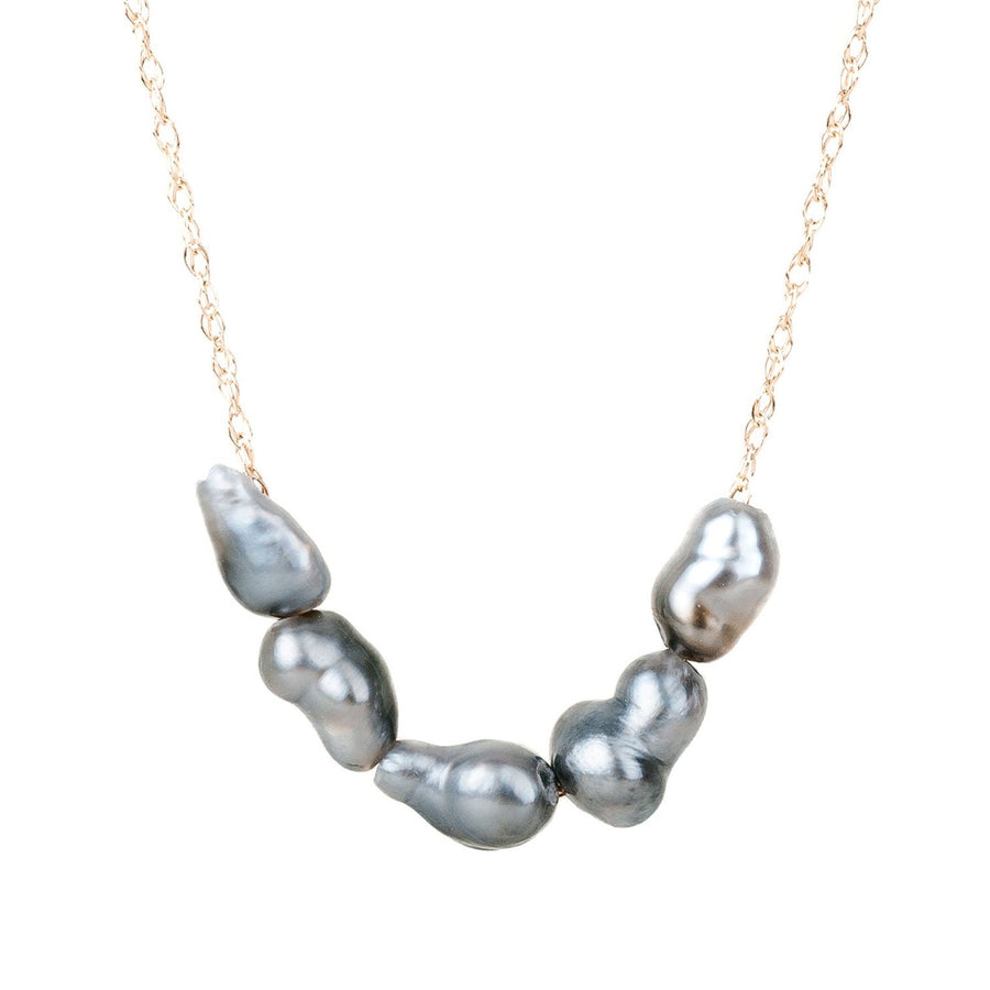 5 Ombré Tahitian Keshi Pearl Necklace - 14k Gold