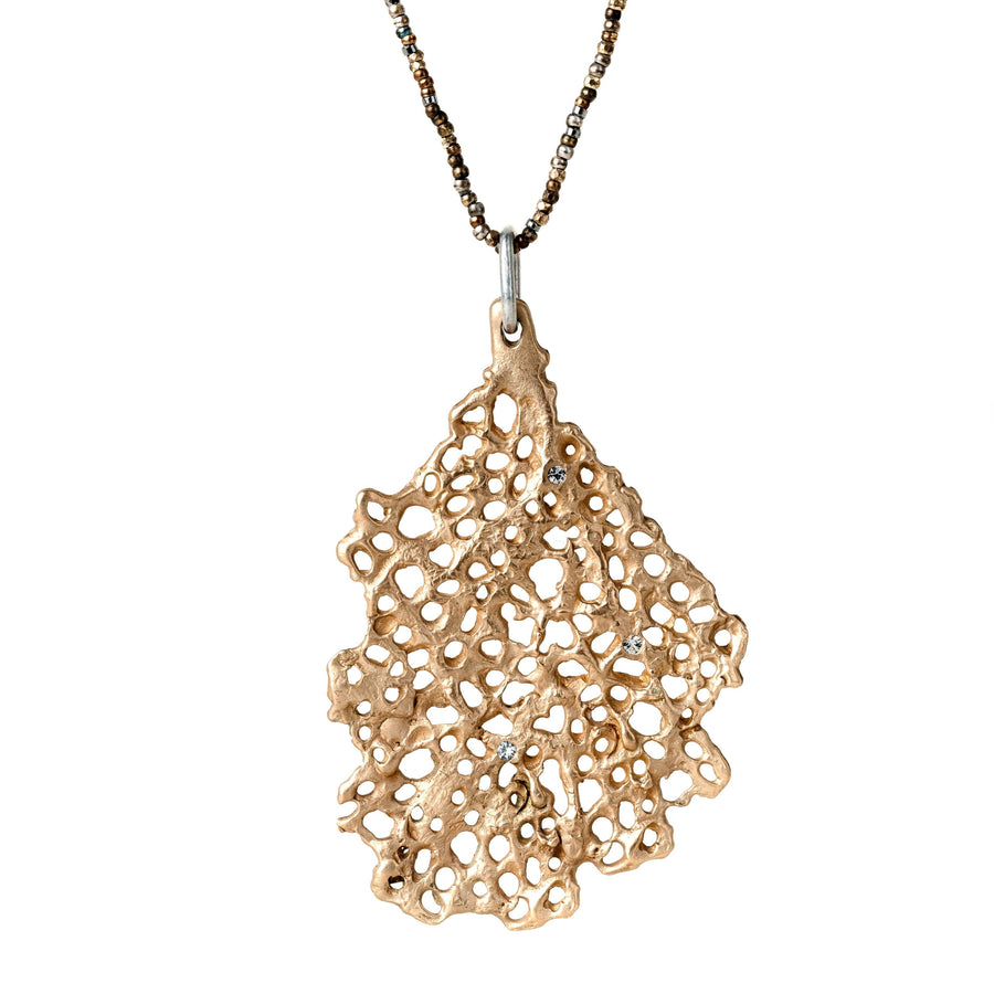 Medium Koraru Pendant in Bronze with White Sapphires on Steel Cut chain
