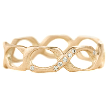 Braided Gold & 7 Diamond 18k Gold Ring