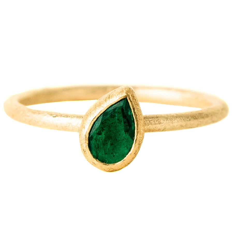 Faceted Emerald Drop Ring - 18k/22k Gold