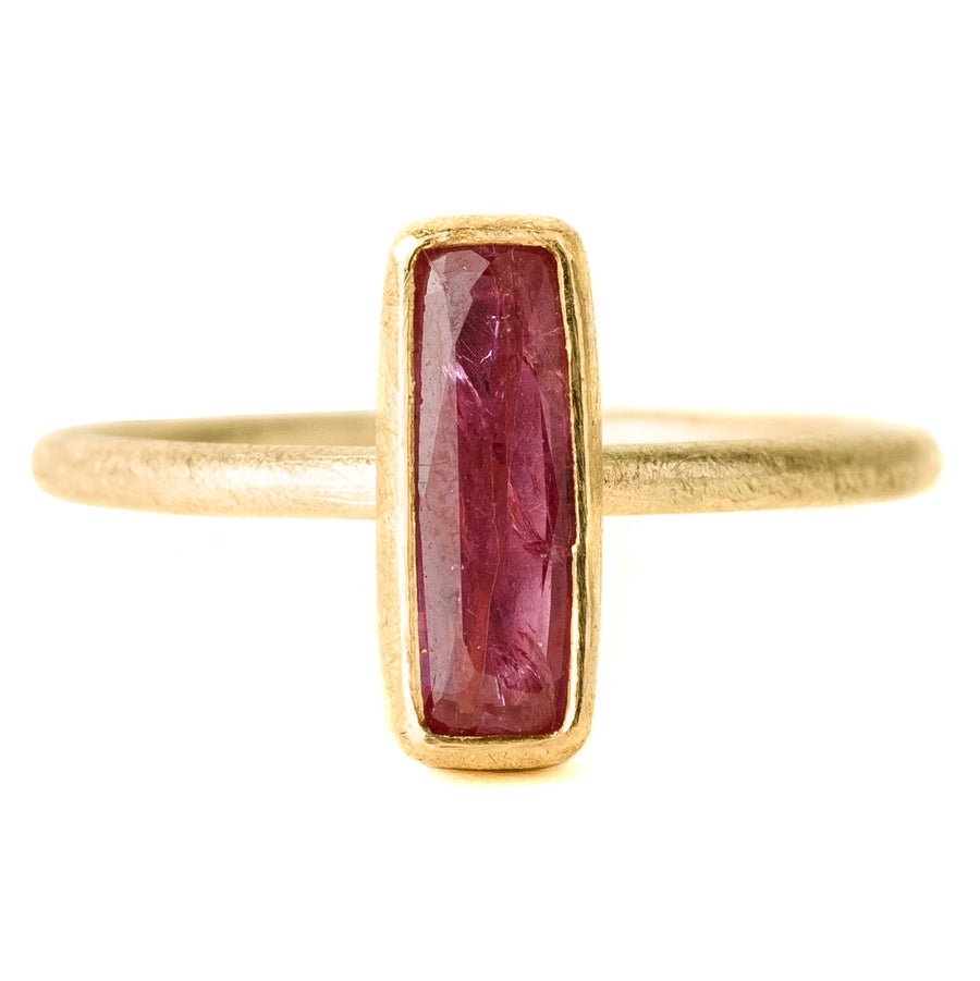 Faceted Ruby Rectangle Ring - 18k + 22k Gold