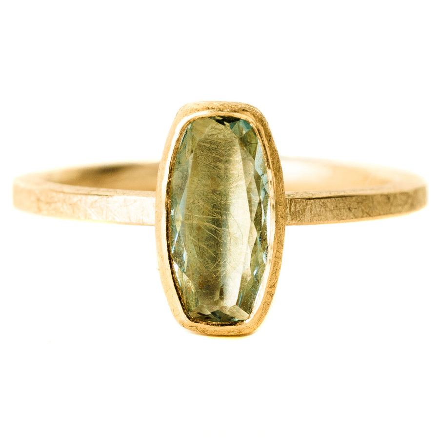 Faceted Aquamarine Ring - 18k/22k Gold