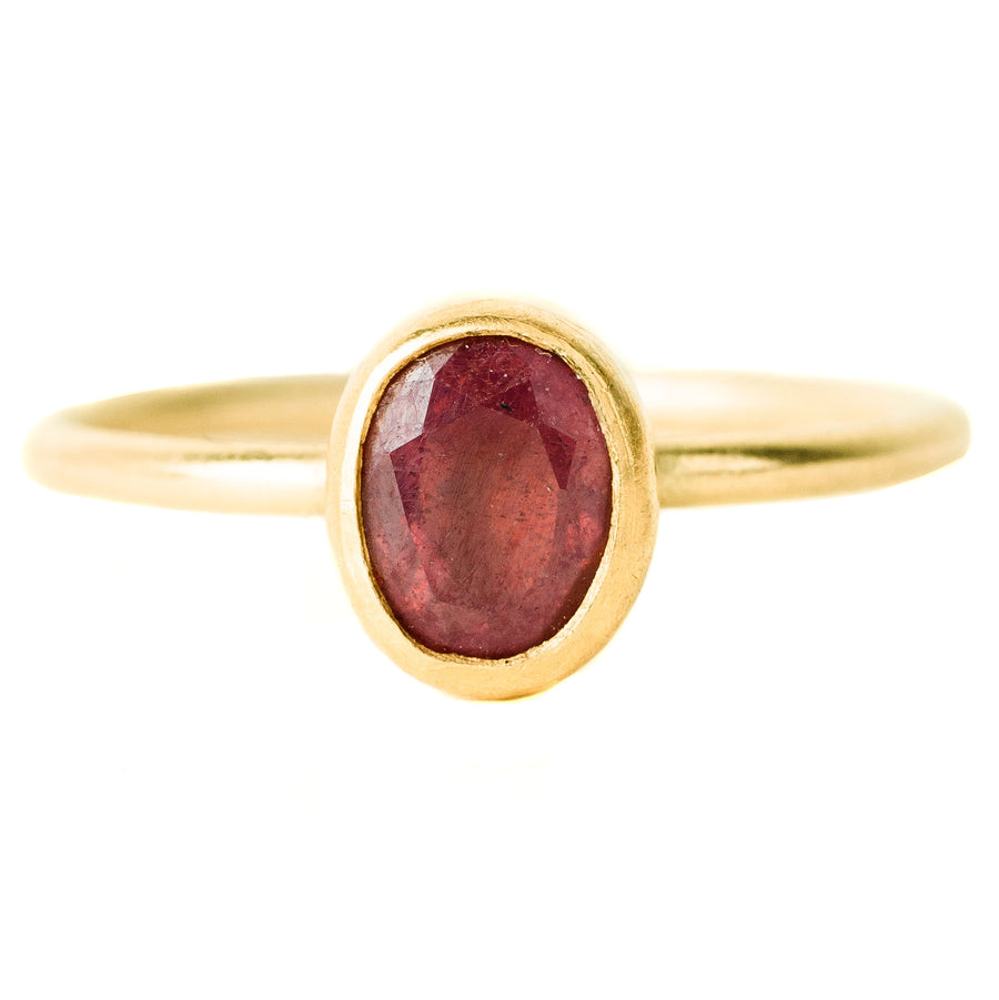 Faceted Ruby Oval Ring - 18k/22k Gold