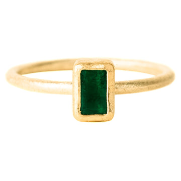 Faceted Emerald Rectangle Ring - 18k/22k Gold