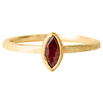 Faceted Ruby Marquis Ring - 18k/22k Gold