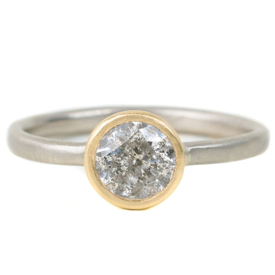 Legacy Diamond Ring - Salt + Pepper Brilliant Cut Diamond set in a 18ky Gold Smooth Bezel on a 14kpw Gold Band