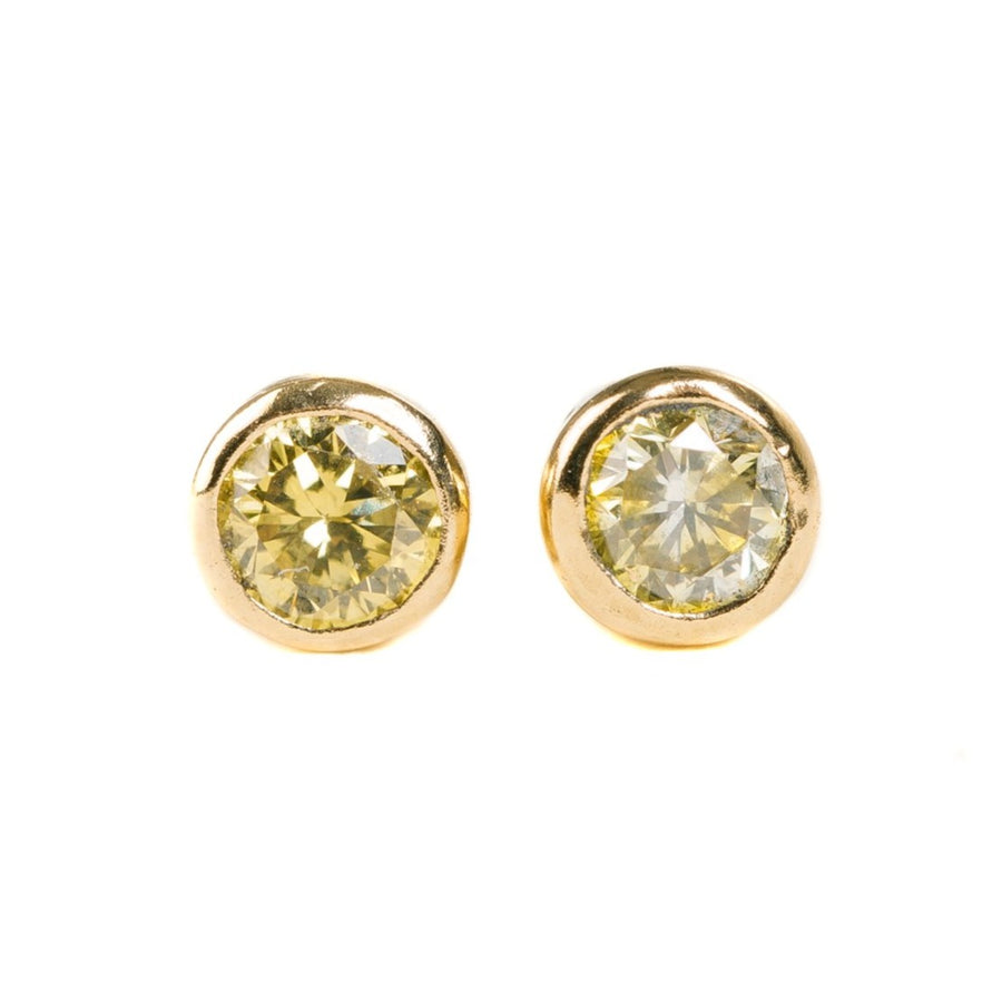Single Diamond Stud Earrings - 18ky Gold + Colored Diamonds