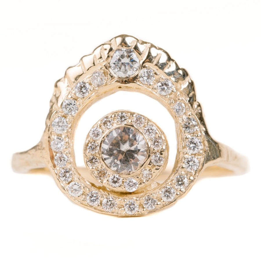 Rise In Love Ring In Yellow Gold With A White Sapphire & Diamonds