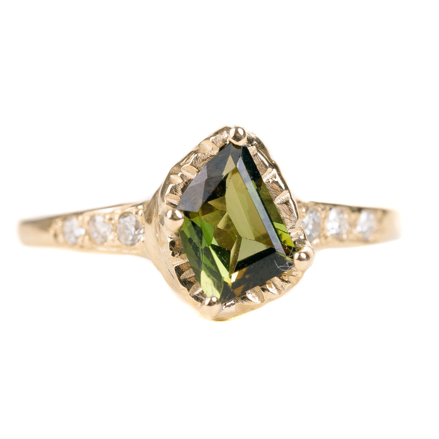 OOAK Green Tourmaline Ring - Diamonds + 14k Gold