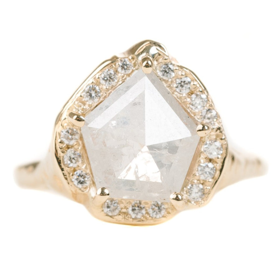 Guardian Pentagon Ring Yellow Gold With Statement Icy White Diamond & Accent Diamonds