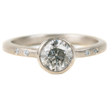 Legacy Diamond Ring - Salt + Pepper Brilliant Cut Diamond set in a 14kpw Gold Smooth Bezel with Flush Set VS Diamonds