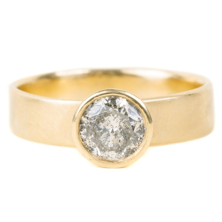 Legacy Diamond Ring - Salt + Pepper Brilliant Cut Diamond set in a 18ky Gold Smooth Bezel on an 18ky Gold Wide Band