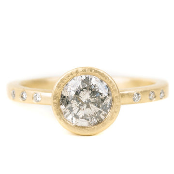 Legacy Diamond Ring - Salt + Pepper Brilliant Cut Diamond set in an 18ky Gold Hammered Medium Bezel with Flush Set VS side Diamonds