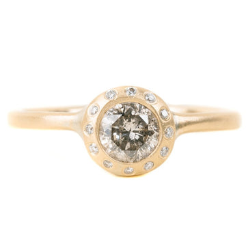 Legacy Diamond Ring - Salt + Pepper Brilliant Cut Diamond set in a 18ky Gold Smooth Extra Heavy Bezel with a Halo Flush Set with VS Diamonds