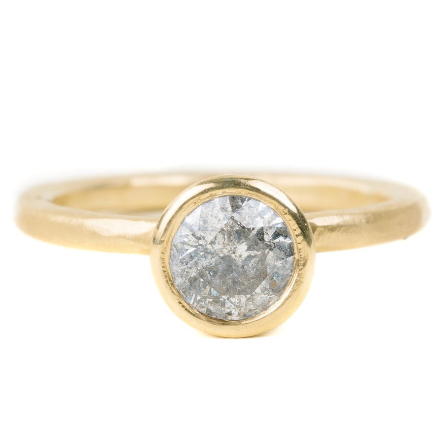 Legacy Diamond Ring - Salt + Pepper Brilliant Cut Diamond set in a 18ky Gold Medium Smooth Bezel