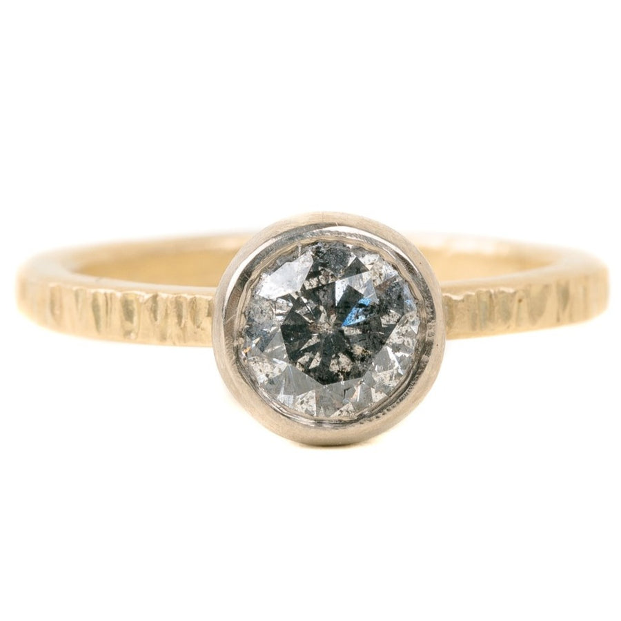 Legacy Diamond Ring - Salt + Pepper Brilliant Cut Diamond set in a 14kpw Gold Heavy Smooth Bezel on an 18ky Band with Aspen Texture