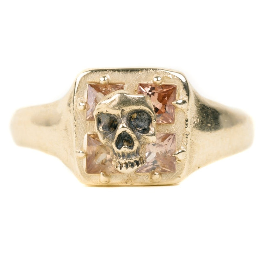 Mosaic Skull Ring with sapphires
