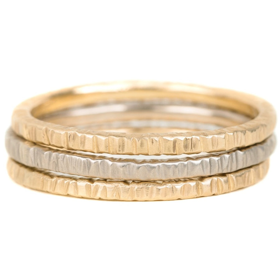 Aspen Wedding Stackers - 18ky Gold, 14kpw Gold