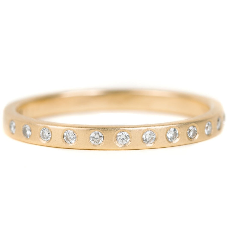 Everyday Diamond Band - 18ky Gold, 14kpw Gold + VS Diamonds