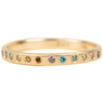 Everyday Diamond Band - 18ky Gold + Colored Diamonds