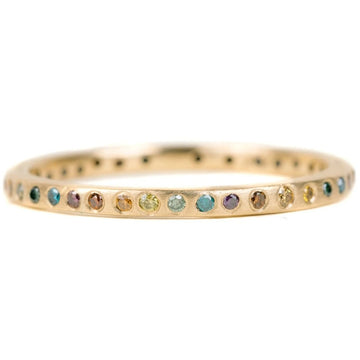 Eternity Diamond Band - 18ky Gold + Colored Diamonds