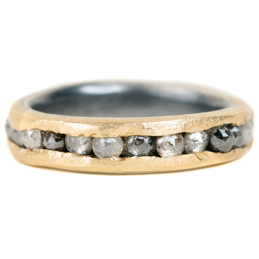 Channel Set Band with Rose Cut Diamonds- 18ky Gold, Oxidized Silver + Salt and Pepper Diamonds