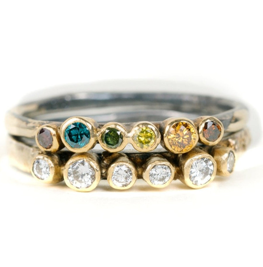 Organic Princess Band  - 18ky Gold + Colored Diamonds