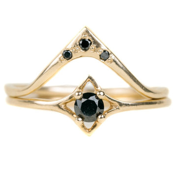 Small Celestial Black Diamond Ring With 14k Gold