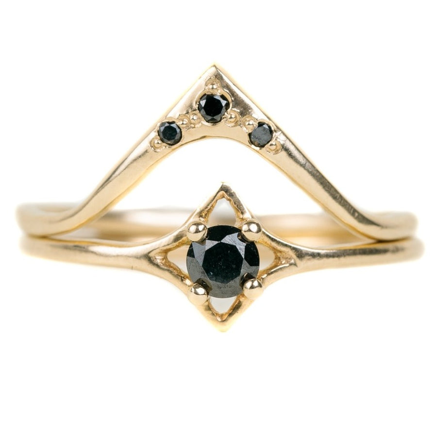 Starry Valley Ring In 14k Gold With Black Diamonds