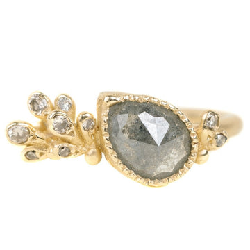 Rose Cut Grey Diamond with Paisley Ring In Yellow Gold With Champagne Diamonds