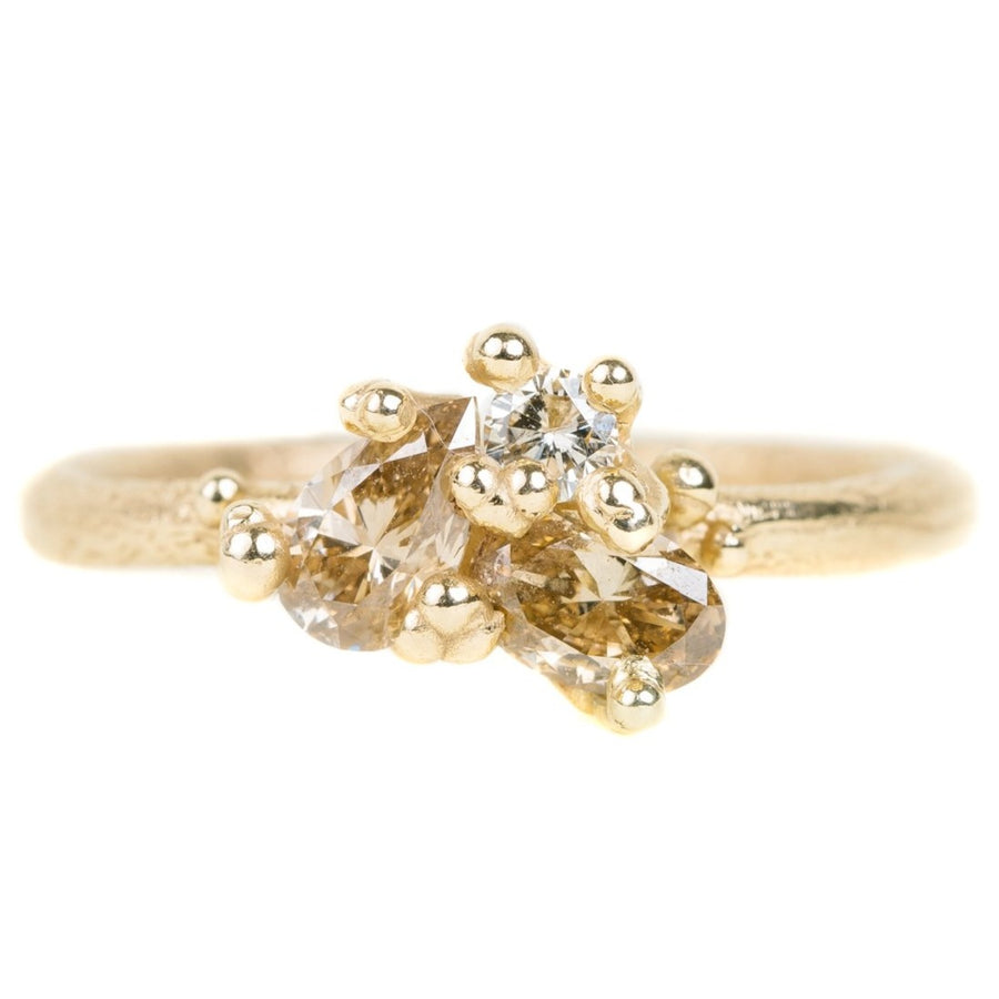 Contrast Cut Diamond Ring In Yellow Gold With Champagne Diamonds
