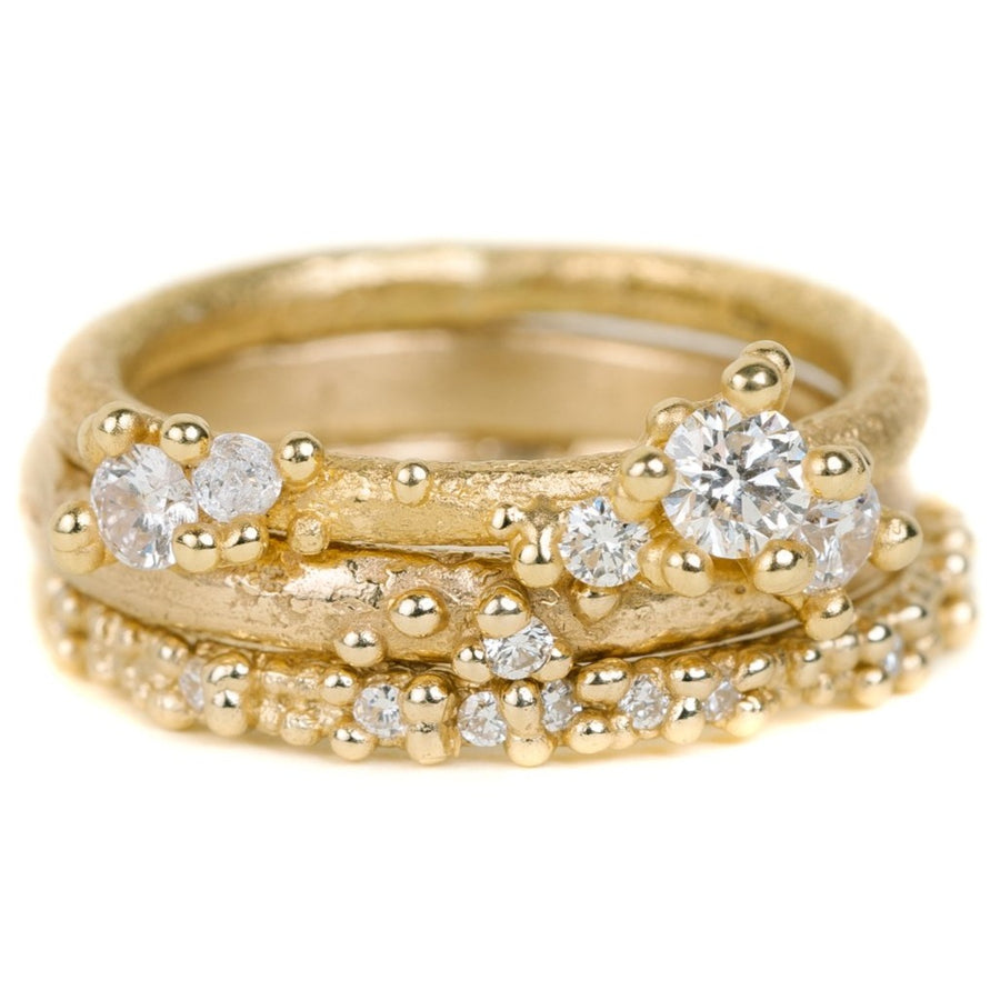 Double Beaded Diamond Band In Yellow Gold With Diamonds