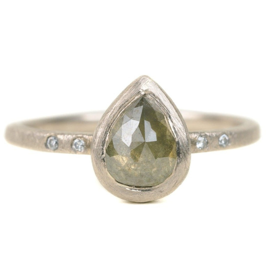 One Of a Kind 14kpw Gold Rose Cut Green Pear Shaped Diamond Ring