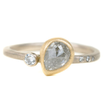 One Of A Kind 18ky + 14pw Gold Rose Cut Salt + Pepper Pear Shaped Diamond Ring