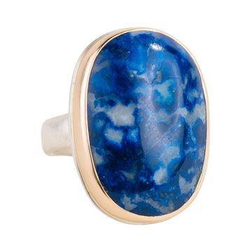 Lapis Ring - Sterling Silver + 14k Gold