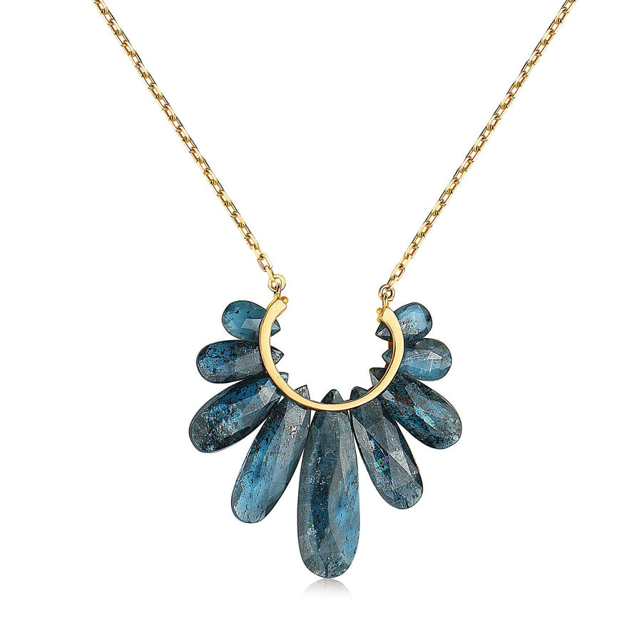 Large Peacock Pendant Necklace - 14k Gold + Kyanite