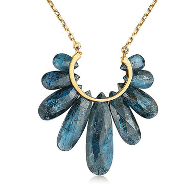 Large Peacock Pendant Necklace in 14k Gold And Kyanite