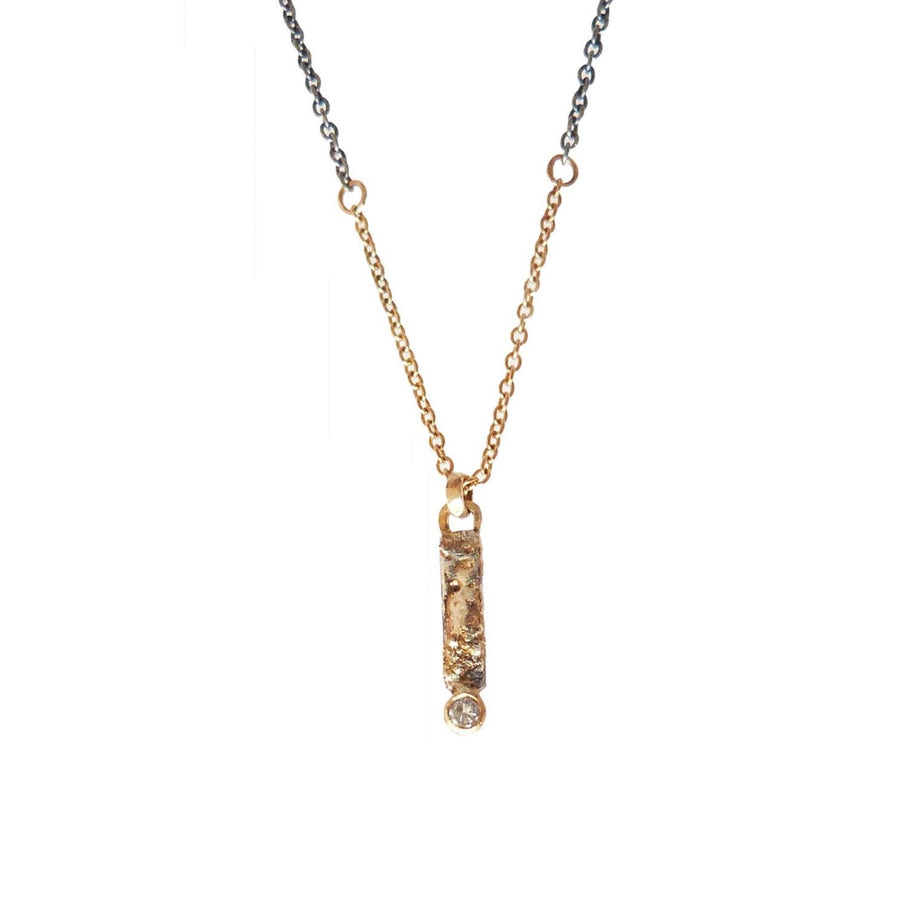 Mini Ravine Necklace - 22k/18k Gold, Oxidized Silver + Reclaimed Diamonds