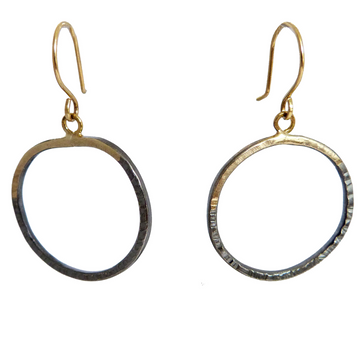 Mini Turning Aspen Hoops - 18k gold + Oxidized Silver