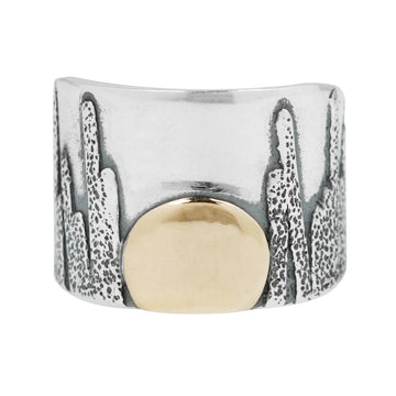 Moonrise Cigar Band - Sterling Silver + 14k Gold