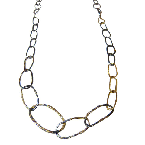Organic Chain Link Necklace - 18k Gold Fused with Oxidized Silver