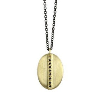 Small Mod Pavé Oval Necklace In 18k Gold With Black Diamonds & Oxidized Silver