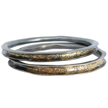 Rhonda Bangle - 22k Gold + Oxidized Silver