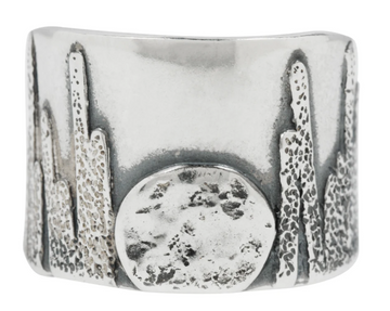 Moonrise Cigar Band - Sterling Silver