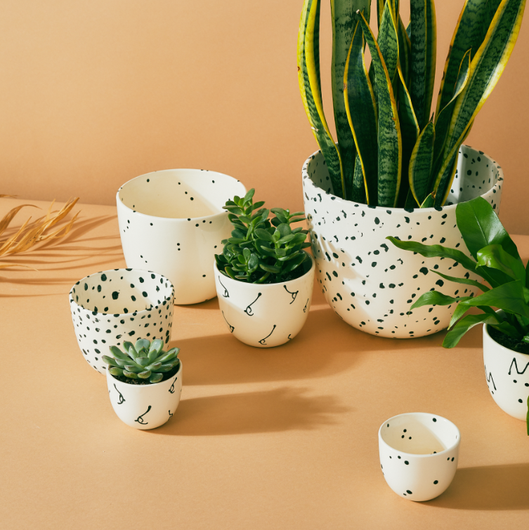 X-Large Planter + Dish - Speckled