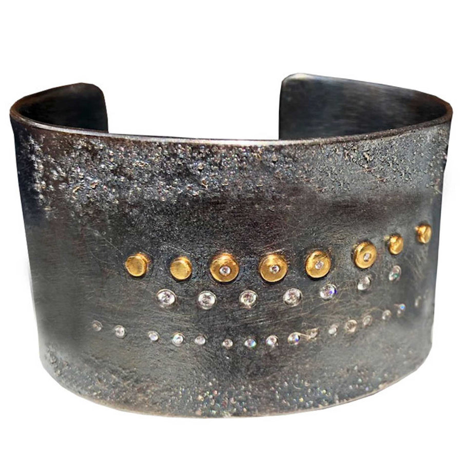 Shine Bright Cuff - 18k Gold, Oxidized Silver + Reclaimed Diamonds