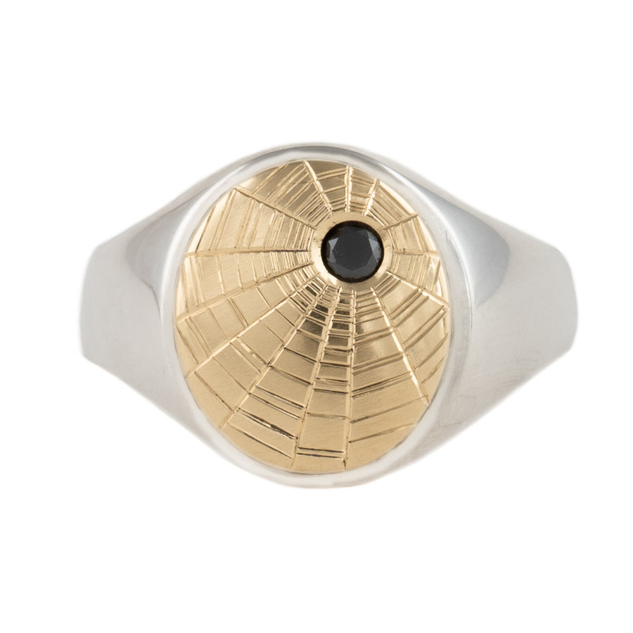 Silk XVIII Signet Ring - 18k Gold + Sterling Silver