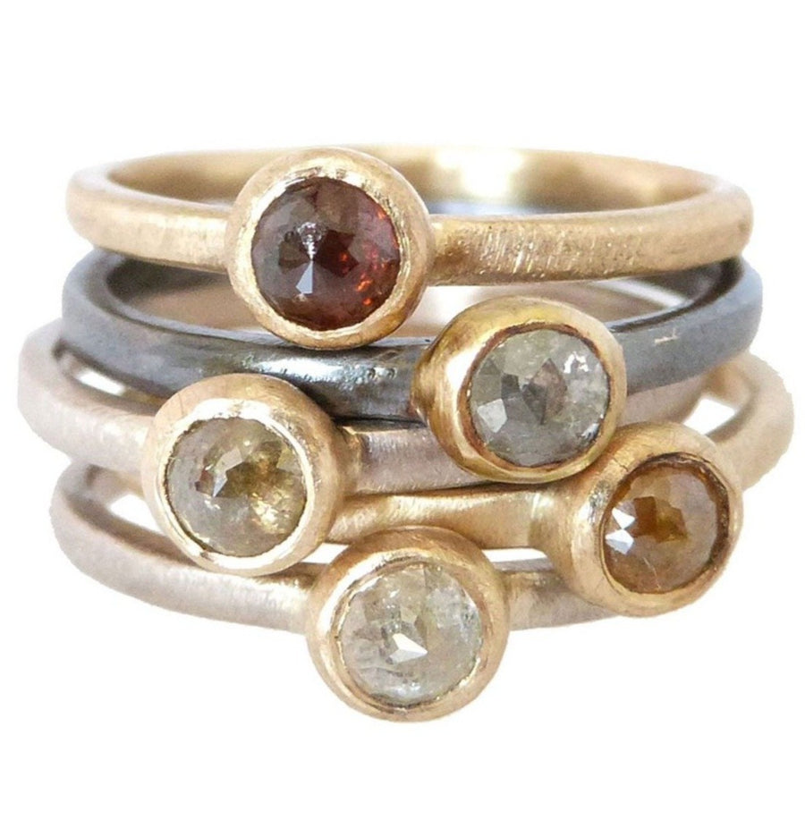 Slice Diamond Stackers - Colored Diamonds, 18ky Gold, 14pw Gold, Oxidized Silver