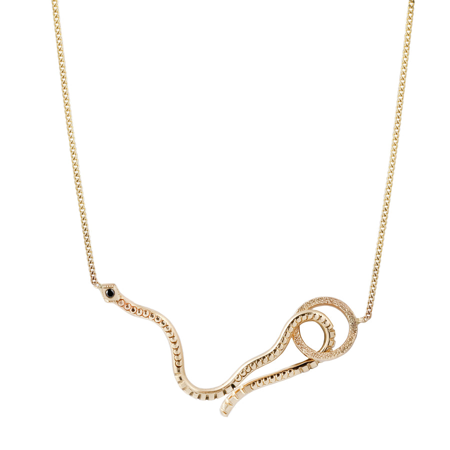 Snake Hook Diamond Necklace - 14k Gold