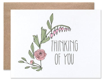 """Thinking Of You"" Floral Rose Card"